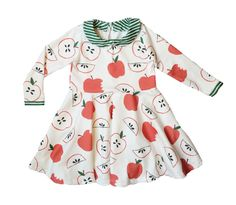 Our collared twirl dress is a comfortable and stylish addition to any little girls wardrobe. It is made out of the softest organic cotton knit fabric with our exclusive apple design. It has stretch to it so it is easy for little babies and toddlers to be active in. This dress has a green striped collar, a keyhole back and a button closure.All of the seams have been professionally serged for durability. Machine wash inside out delicate in cool or cold water. Laying flat to dry is...