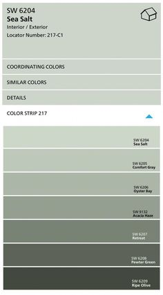 Sherwin Williams Color Strip with Sea Salt and Comfort Gray #bedroompaintcolors
