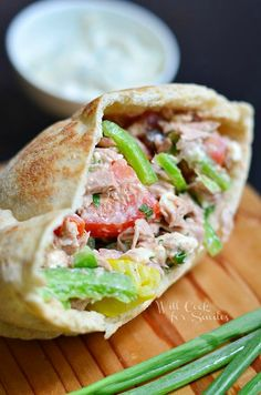 This Greek Tuna Pita is my new favorite lunch sandwiches. It's full of fresh veggies, great tuna, herb aioli and Greek flavors are never dull!