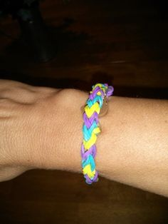 rainbow loom double loop bracelet handcrafted for you your choice on c | SecondChance - Jewelry on ArtFire