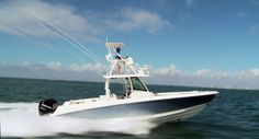 """According to BoatTEST.com, the new 350 Outrage is """"loaded with amenities that speak of her blue water heritage, while at the same time providing comfort features that allow her to seamlessly transition into a family cruiser."""""""