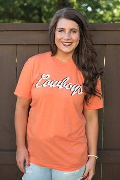 OSU Cowboys shadow unisex crew neck t-shirt orangeWe are obsessing with this retro inspired throw back Oklahoma State University t-shirt. Unisex fit and design