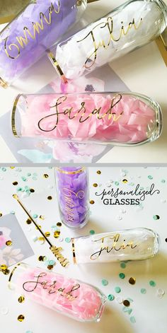 I love these personalized champagne flutes for unique bridesmaid gift ideas. You could even do these as a DIY bridesmaid gift if you're crafty :) Bridesmaid Wine Glasses, Bridesmaid Boxes, Bridesmaids And Groomsmen, Best Bridesmaid Gifts, Wedding Bridesmaids Gifts, Bridesmaid Proposal Box, Gifts For Wedding Party, Wedding Favors, Our Wedding