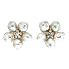 White Keshi Pearl Diamond Gold Cluster Earrings 1