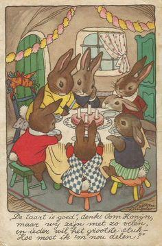 bunnies tea party Vintage Children's Books, Vintage Cards, Vintage Postcards, Bunny Art, Cute Bunny, Zany Zoo, Bunny Birthday, Birthday Cake, Rabbit Art
