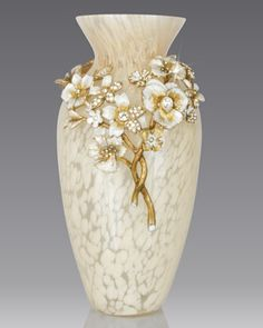 """Jay Strongwater Ivory Bouquet   Handcrafted vase. Mouth-blown glass with cast-metal collar. Hand enameled and hand set with Swarovski® crystals. 4""""Dia. x 8""""T.Vase"""