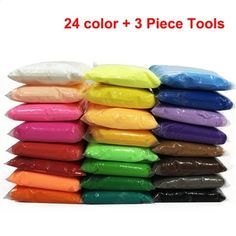 24 Color Air Dry Light Clay With 3 Tool Educational Toy Colorful Plasticine Polymer Creative DIY Clay Toy Kid Girl Birthday Gift Birthday Gifts For Girls, Girl Birthday, Diy Clear Slime, Plasticine Clay, Puzzle Drawing, Diy Fluffy Slime, Slime Toy, Light Clay, Wax Crayons