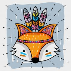 Baby Room Paintings, Clown Paintings, Animal Paintings, Animal Drawings, Cute Drawings, Fox Illustration, Illustrations, Arte Sharpie, Monster Crafts