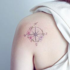 """6,679 Likes, 25 Comments - Mini Lau (@hktattoo_mini) on Instagram: """"compass and flower"""""""