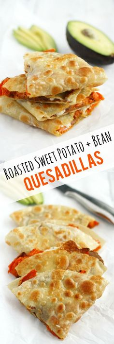 Make these crispy, melty, and delicious quesadillas for lunch today! Roasted sweet potatoes and beans make a healthy and tasty filling. #vegan