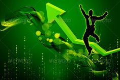 BUSINESS MAN WITH RISING STATISTICS ...  3d, abstract, arrow, background, business, businessman, chart, city, earning, economic, economics, economy, exchange, finances, financial, gain, green, grid, growth, happy, illustration, jump, line, man, person, profit, rise, shares, statistic