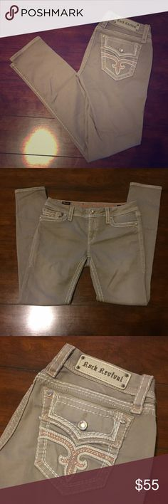"""Rock Revival Skinny Stretch Jean (tan) SIZE 30 Rock Revival 'Margie' Skinny Stretch Jean in tan. Low rise zip fly with metallic/gold embroidery on back pockets. Size 30 with 32"""" inseam and 12"""" leg opening. Only been worn twice and in excellent condition!! Rock Revival Jeans Skinny"""