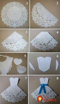 Diy wedding cards handmade ideas new Ideas Doilies Crafts, Diy And Crafts, Paper Crafts, Diy Paper, Origami Paper, Origami Dress, Card Crafts, Bridal Shower Cards, Bridal Shower Umbrella