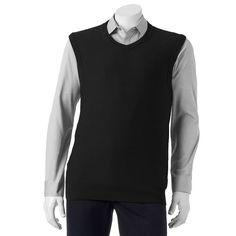Men's SONOMA Goods for Life® Classic-Fit Fine Gauge Textured Sweater Vest, Size: Medium, Black