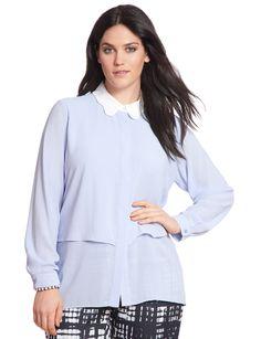 Scalloped Collar Blouse   Women's Plus Size Tops   ELOQUII.com