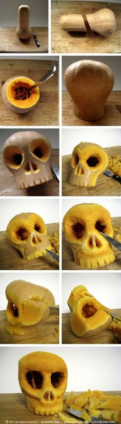 skull carved out of a butternut squash