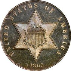 Three Cent Silvers - 1863 3CS PF