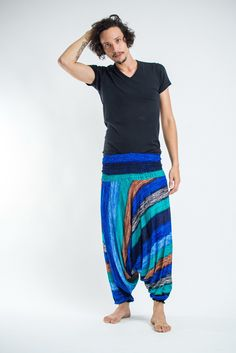 """Amazingly soft Boho Turquoise Striped Low-Cut Men's Harem Pants.Cotton/Rayon Blend. Free International Shipping on Orders over $60 at HaremPants.com Approx. Measurements: Waist: 24"""" to 38"""" Hips: up to"""
