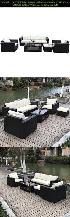 Do4U 7pcs Outdoor Patio Garden Rattan Wicker Sofa Set Sectional Furniture Set(Brown Rattan w/ Beige Cushion) #clearance #fpv #kit #parts #tech #patio #racing #camera #furniture #products #plans #shopping #sets #gadgets #2 #technology #drone