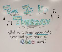whiteboard prompts // Turn It Up Tuesday Morning Activities, Writing Activities, Classroom Activities, Music Classroom, Future Classroom, School Classroom, Morning Board, Daily Writing Prompts, Responsive Classroom