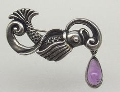 Margot de Taxco Sterling Brooch, Amethyst Dangle