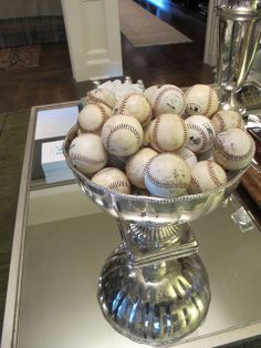 Great way to display baseballs in the man cave.