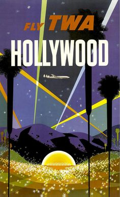 "vintage travel poster by david klein (1950's). Love the ""city of stars"" and the geometric lights in the sky."