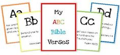 Preschool alphabet printables and verses, word cards...