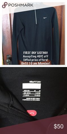 NIKE FIT DRY 1/4 zip running shirt FIRST DAY LISTING!   Accepting 40% off listed price offers! Until 10 am Monday!  Like new condition, smoke free home.  Reflective trim. Nike Tops