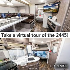 The 2445 Travel Trailer is great for a family looking for a perfect vacation! Take a virtual tour of this travel trailer on our website! Luxury Rv Living, Travel Trailers, Virtual Tour, Campers, Tours, Vacation, Website, Space, Floor Space