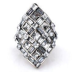 $3.85 - Trendy Rhinestone Embellished Oval Shape Square Ring For Women - Jewelry Wholesale - Wholesalerz.com