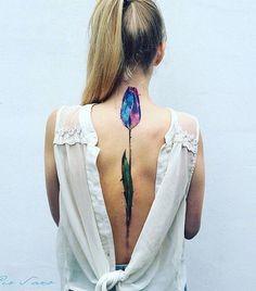 Watercolor tulip tattoo