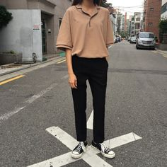 Look 94 Top : Paul Open Pk Tee (3color) Bottom : Grid Slacks (2color)
