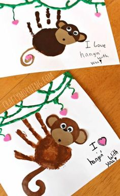 Super cute monkey hand art preschool craft - perfect for valentines day day crafts for kids to make Handprint Monkey Valentine Craft for Kids - Crafty Morning Kids Crafts, Valentine Crafts For Kids, Daycare Crafts, Fathers Day Crafts, Baby Crafts, Toddler Crafts, Projects For Kids, Holiday Crafts, Infant Crafts