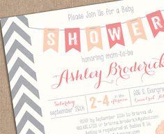 PRINTABLE BABY SHOWER Invitation Chevron by kimberlyjdesign