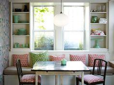 Banc sous fenetre, salle à manger, collection vaisselle verte