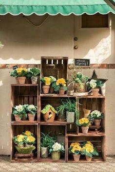 Wood crates planters