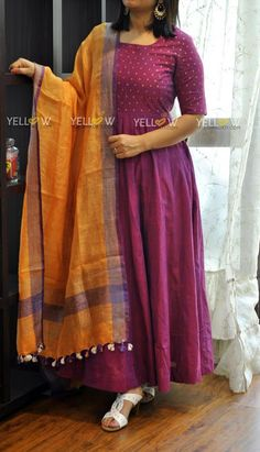 Organic cotton dress with antique gold sequin embroidery teamed up with orange and purple Linen dupatta ! ** Linen dupattas available in several colours. They customise your dress colour as per your choice . Kindly whatsapp at 7995038888 for enquiries !