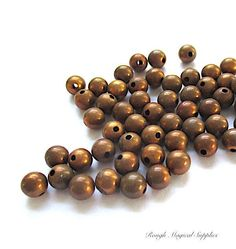 Antique Copper Beads, 5mm Round Beads, Oxidized Bronze Metal Beads, Rustic Patina Small Copper Plated Beads, Craft Beads - 66 Pieces SP776 by RoughMagicalSupplies on Etsy