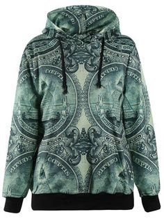 3D Coin Print Pullover Hoodie