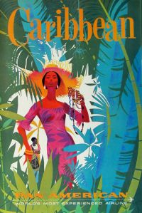 #Beautiful, #colorful #vintage #travel #poster from Pan Am.  #Caribbean. #Woman in #hat. Drummer in background.