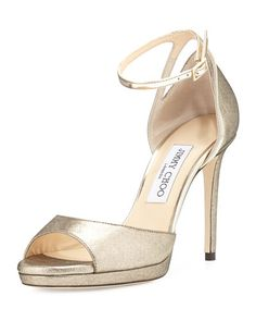 X3B59 Jimmy Choo Pearl Leather 100mm Sandal, Gold/Champagne