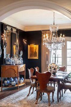 decor, interior design, dining rooms, wall colors, chair, dine room, black walls, blue, dark walls