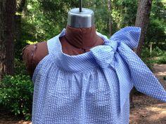 Annie big bow tied at shoulder and neckline seersucker by RysaRuth