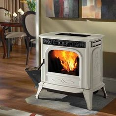 Harman XXV in Frost - a pellet stove with a clean white enamel exterior that looks sharp and works like a dream. Also available in 4 other finishes!