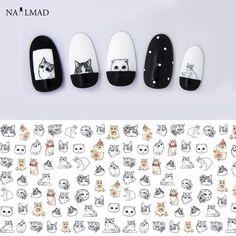 1 лист Кошка Переноса Воды Ногтей Наклейки Кошка Ногтей Наклейки Ногтей Наклейки Татуировки Наклейки