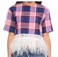 Plaid Feather Top