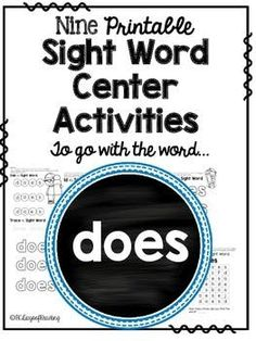 Free sight word activities for does