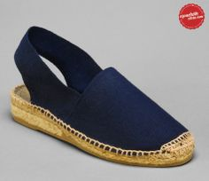 Spanish low wedge espadrilles, navy blue