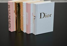 5 Books Blush Pink Gold & white designer inspired book | Etsy Pink And Gold, Blush Pink, Makeup Display, Book Design, Moschino, Design Inspiration, Inspired, Trending Outfits, Unique Jewelry